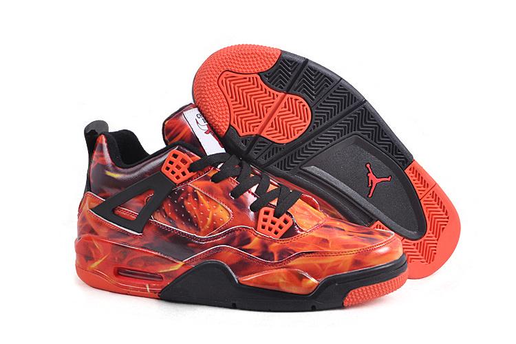 New Air Jordan 4 Flaming Red Black Shoes