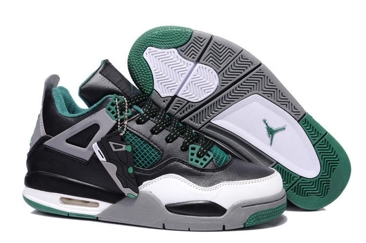 2013 Air Jordan 4 Grey Green Black White Shoes