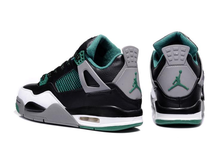 2013 Air Jordan 4 Grey Green Black White Shoes