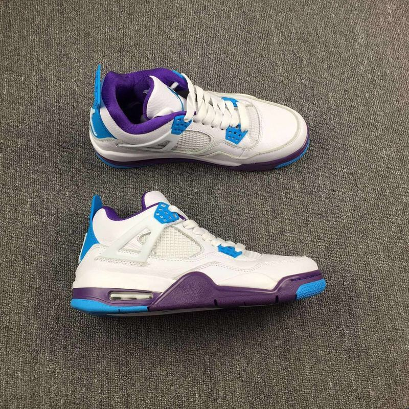 New Air Jordan 4 GS Hornets White Blue Purple Shoes
