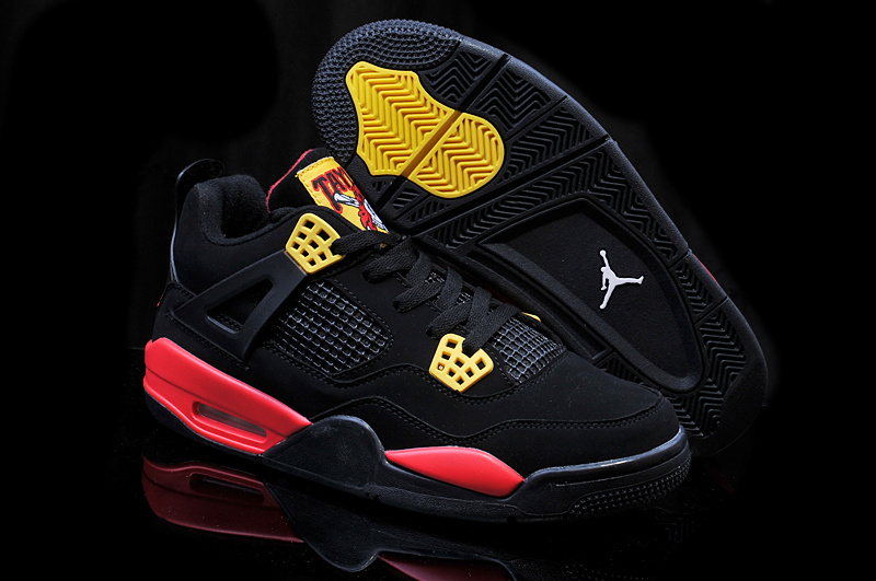 New Air Jordan 4 Pirate Black Yellow Red Shoes