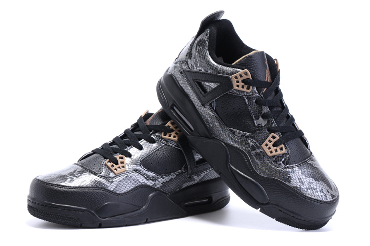 New Air Jordan 4 Retro Snakeskin Black Shoes