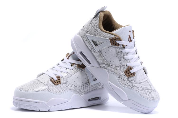 New Air Jordan 4Retro Snakeskin White Yellow Shoes