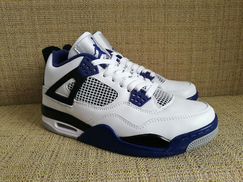 New Air Jordan 4 Retro White Royal Blue Black Shoes