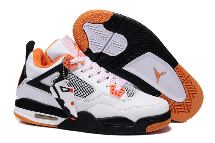 2013 Air Jordan 4 White Black Orange Shoes