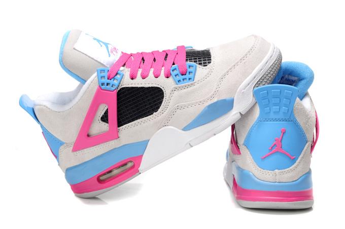 2013 Air Jordan 4 Wite Pink Blue For Women