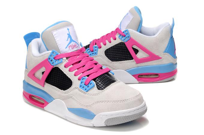 2013 Air Jordan 4 Wite Pink Blue For Women Cheap 2013 Air Jordan 4