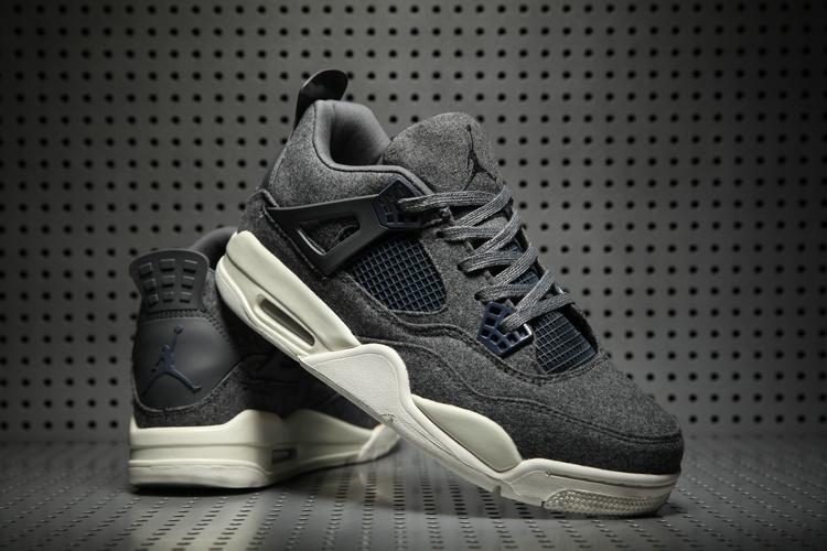 New Air Jordan 4 Wool Black White Shoes