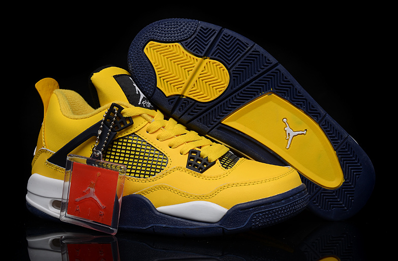 New Air Jordan 4 Yellow Black White Shoes