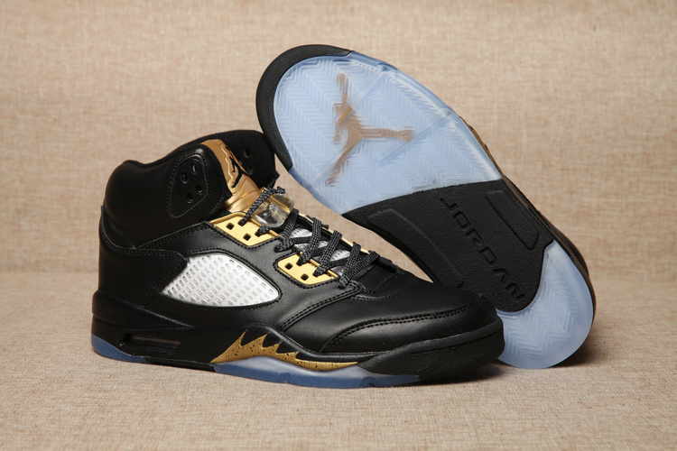 New Air Jordan 5 Black Gold Shoes