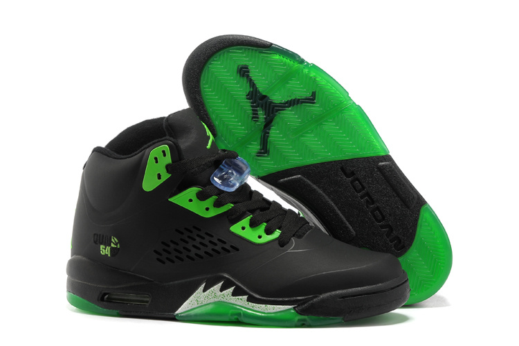 New Air Jordan Retro 5 Black Green Shoes