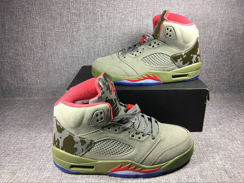 New Air Jordan 5 Camouflage Green Shoes