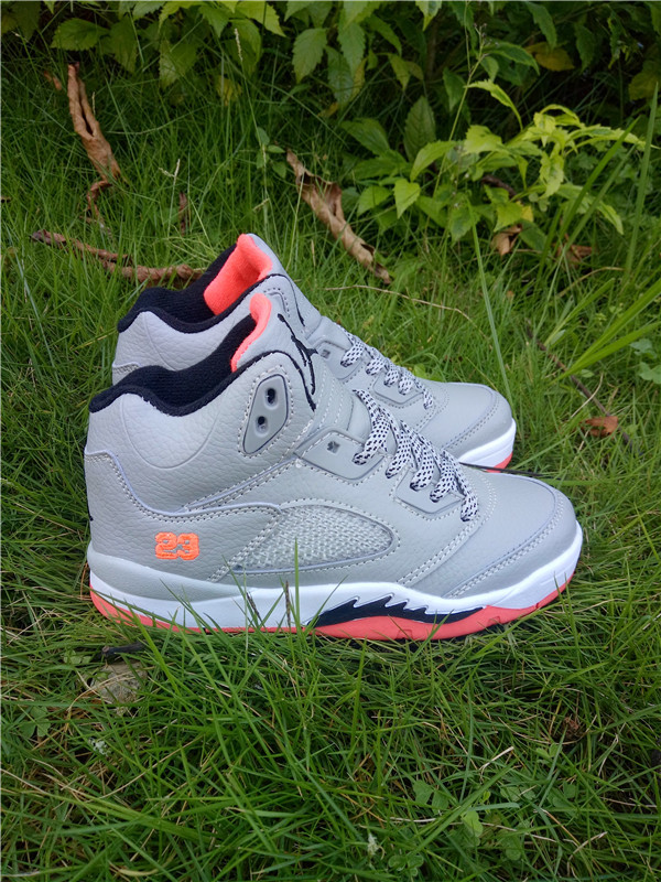 New Air Jordan 5 Grey White Pink Shoes For Kids