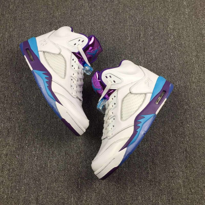 New Air Jordan 5 Hornets White Blue Purple Shoes