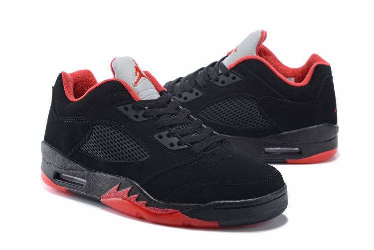 New Air Jordan 5 Low Black Red Shoes