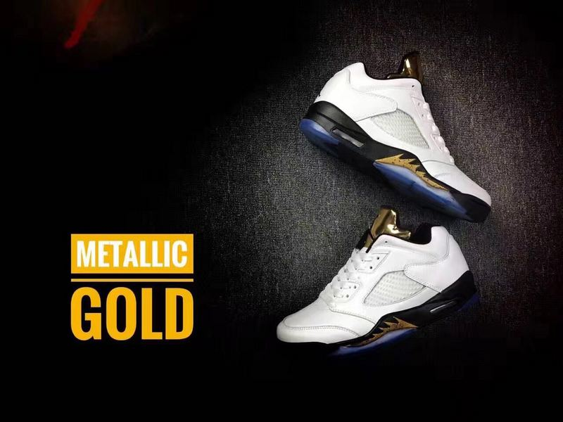 New Air Jordan 5 Low Metallic Gold Shoes
