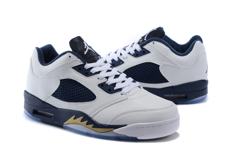 New Air Jordan 5 Low White Blue Shoes