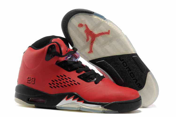 New Air Jordan Retro 5 Red Black Shoes