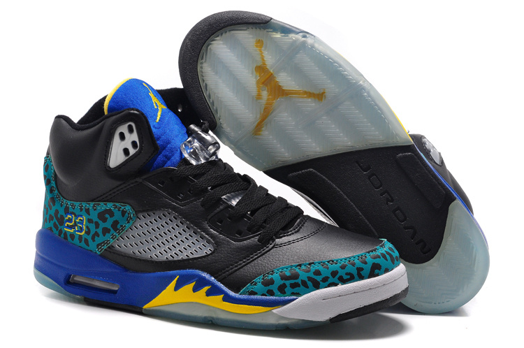New Air Jordan 5 Retro Black Blue Fire Yellow Shoes
