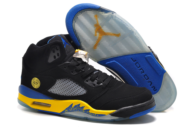 New Air Jordan 5 Retro Black Fire Yellow Shoes