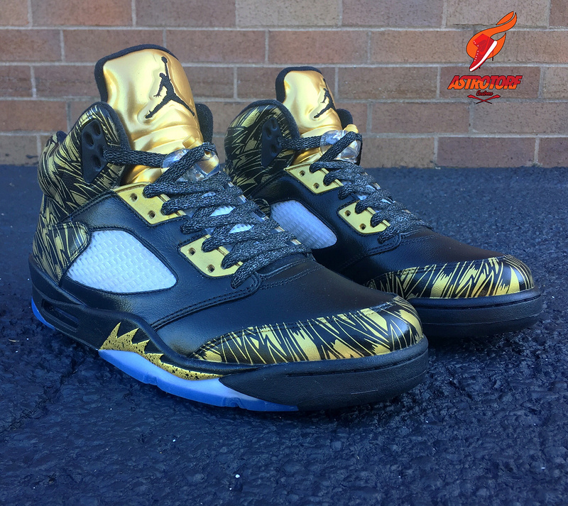 New Air Jordan 5 Retro Black Gold Shoes