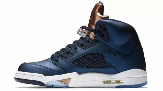 New Air Jordan 5 Retro Blue Copper White Shoes