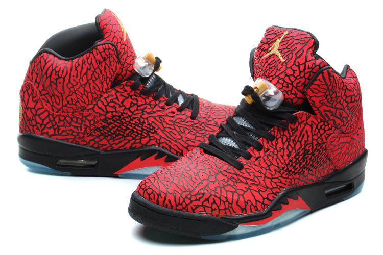 New Air Jordan 5 Retro Burst Crack Red Black Shoes