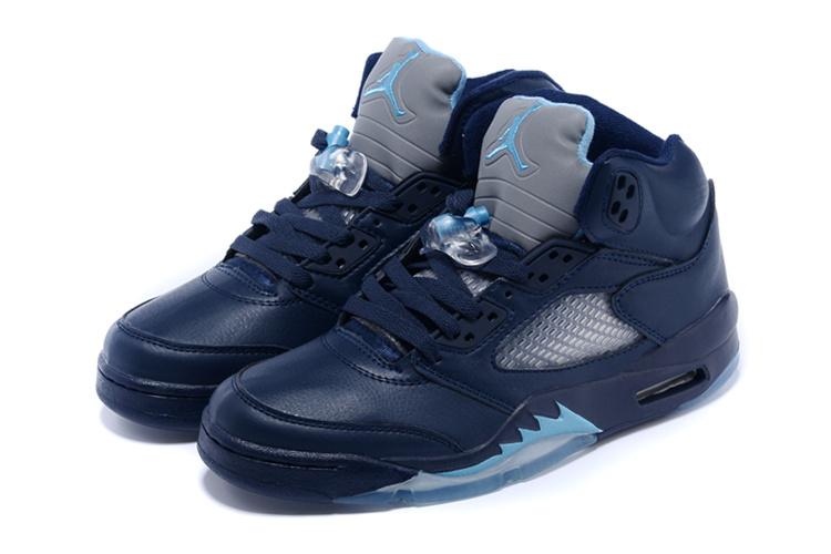 New Air Jordan 5 Retro Dark Blue Grey Shoes