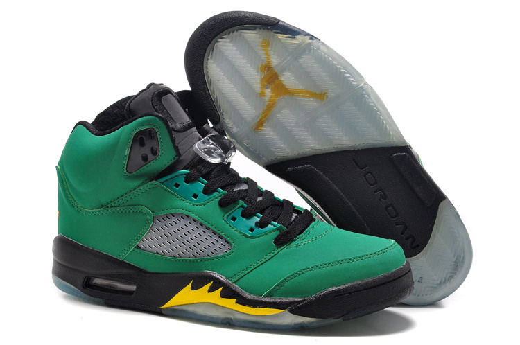 New Air Jordan 5 Retro Green Black Fire Yellow Shoes