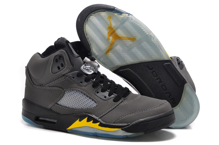 New Air Jordan 5 Retro Grey Black Fire Yellow Shoes