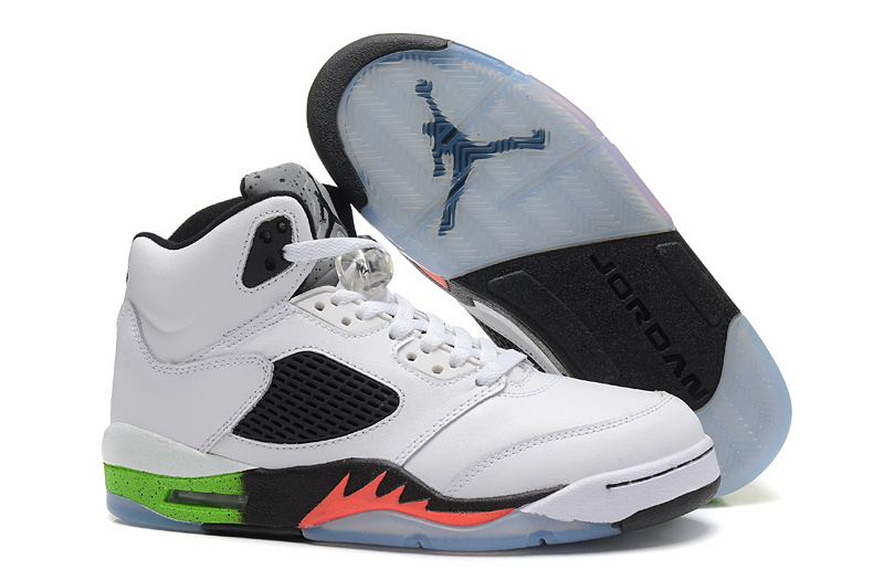 2015 Air Jordan 5 Retro White Black Green Orange Fire