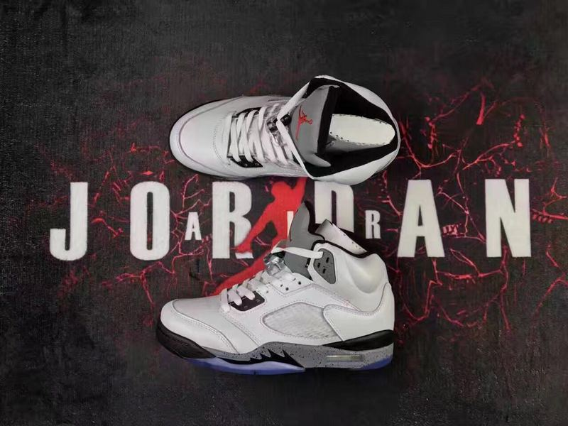 New Air Jordan 5 Retro White Cement Grey Black Lover Shoes