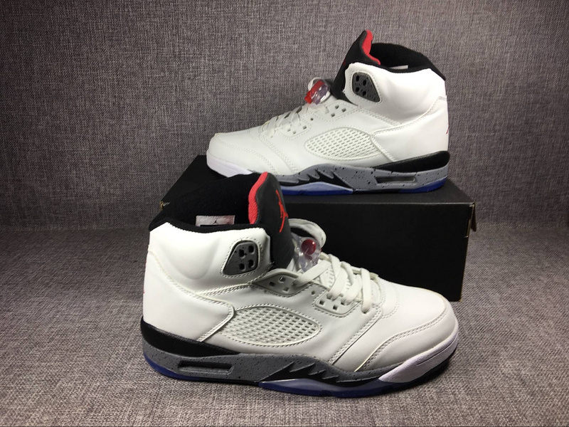 New Air Jordan 5 Retro White Cement Shoes