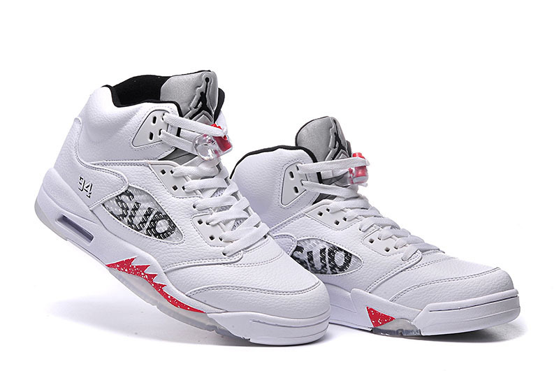 New Air Jordan 5 SUP White Red Shoes For Kids