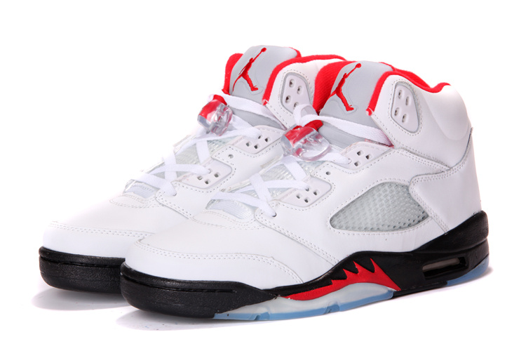 2013 Air Jordan 5 White Black Red Shoes