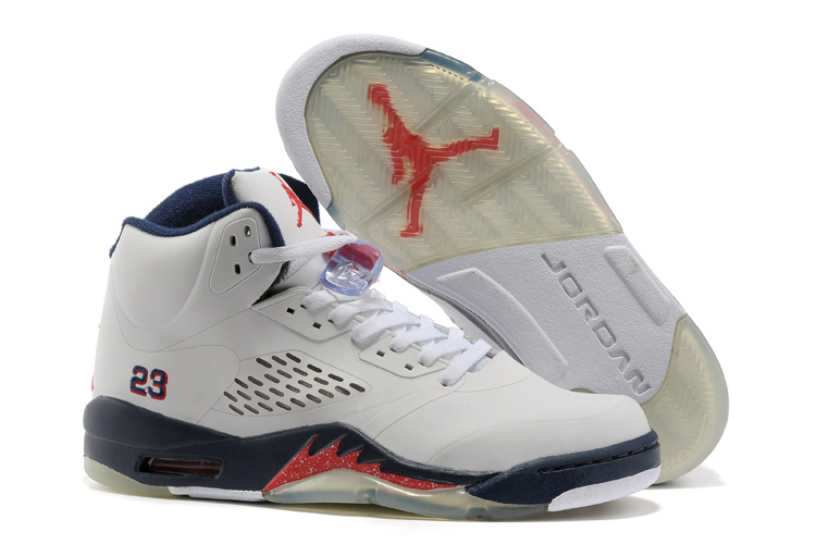 New Air Jordan Retro 5 White Blue Fire Red Shoes