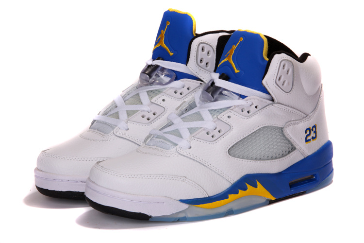 2013 Air Jordan 5 White Blue Shoes