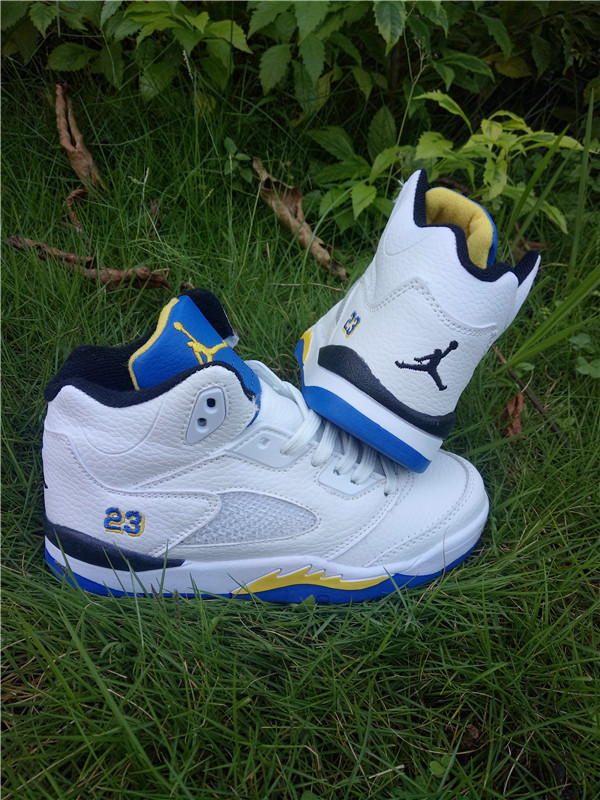 New Air Jordan 5 White Blue Yellow Shoes For Kids