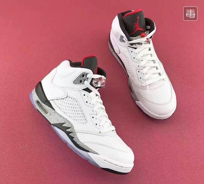 New Air Jordan 5 White Cement Shoes