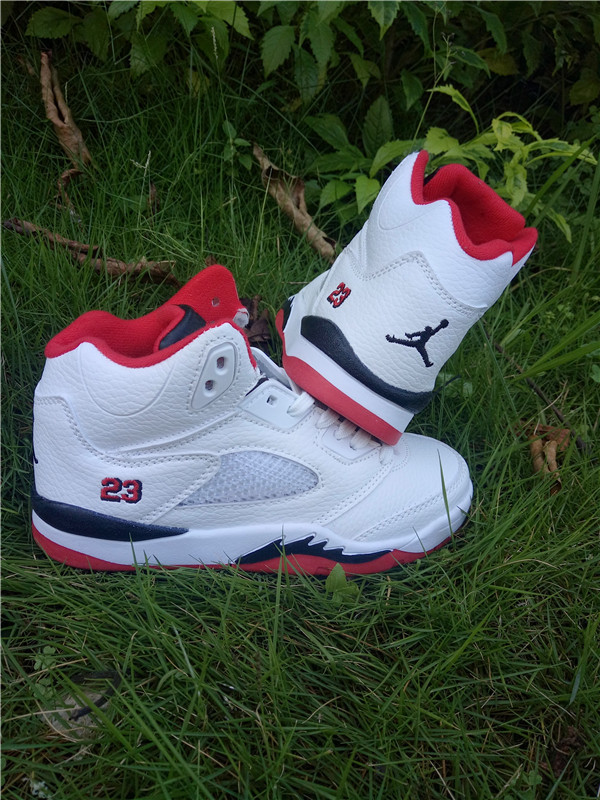 New Air Jordan 5 White Red Black Shoes For Kids