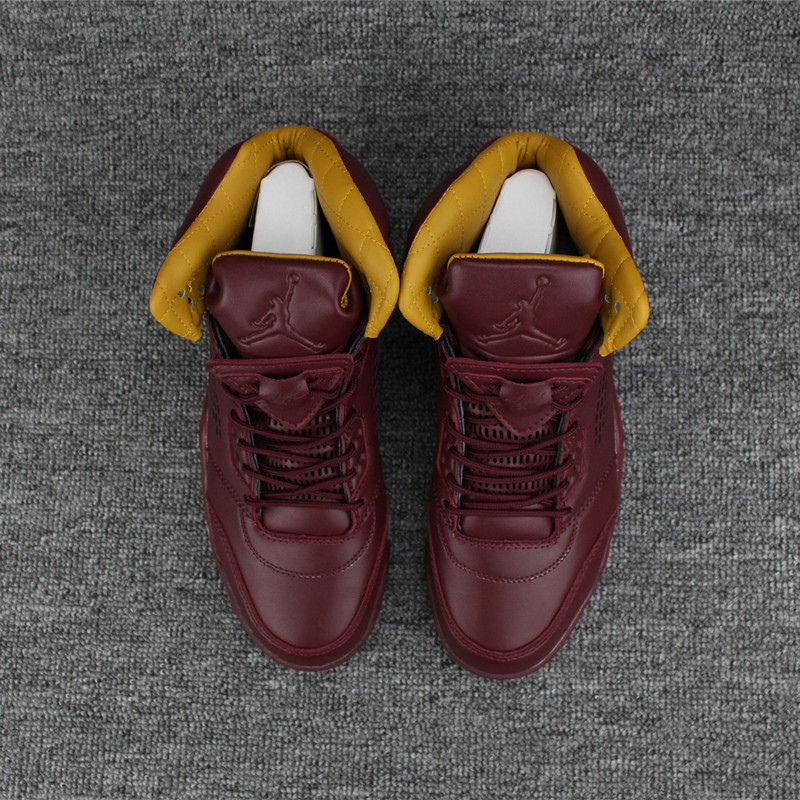 New Air Jordan 5 Wine Red Yellow Shoes