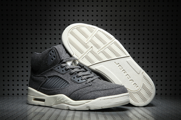New Air Jordan 5 Wool Black White Shoes