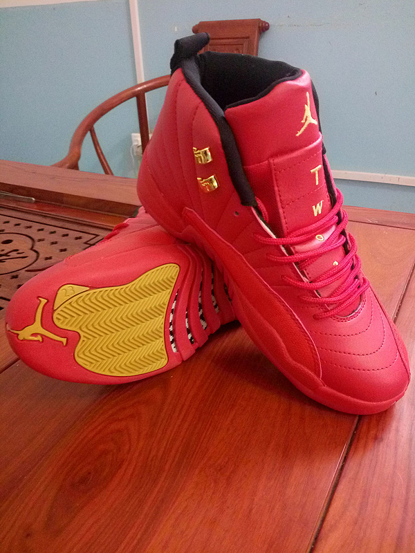New Air Jordan 12 All Red Gold Shoes