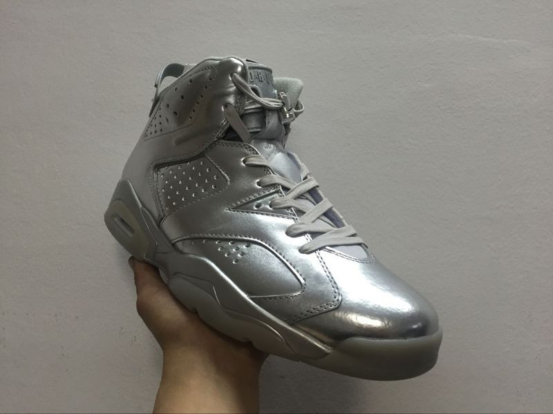New Air Jordan 6 All Silver Shoes