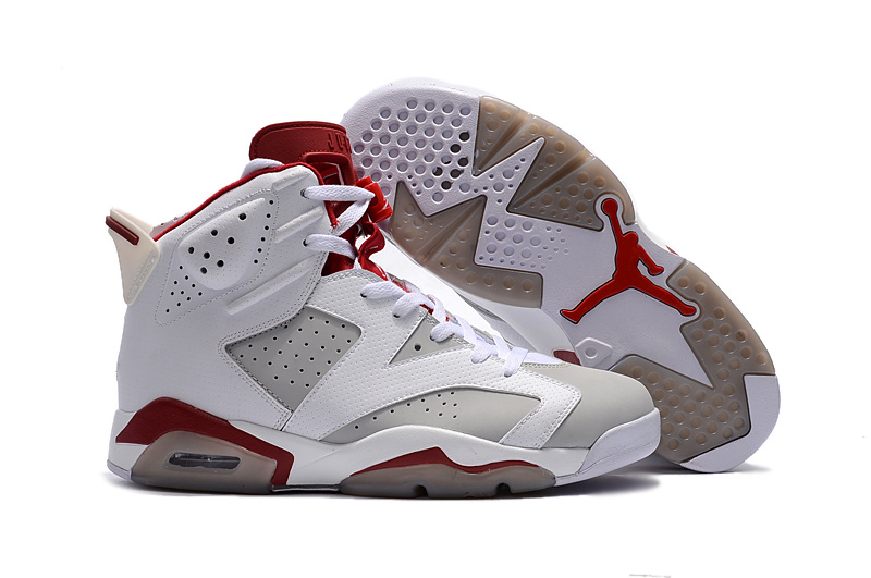 New Air Jordan 6 Alternate White Grey Red Shoes