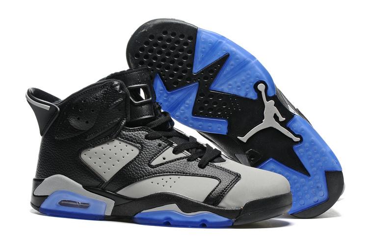New Air Jordan 6 Black Grey Blue Sole Shoes
