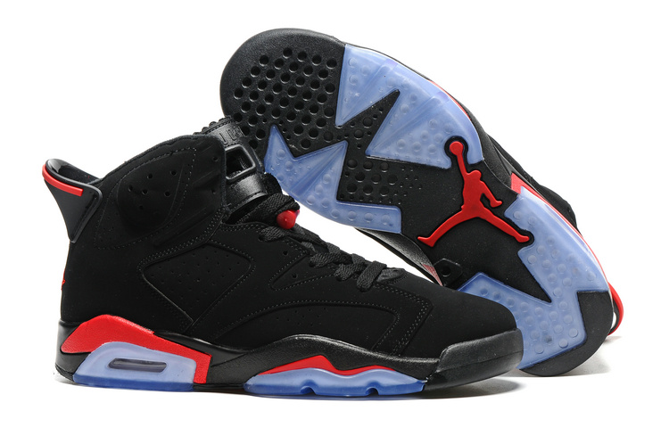 New Air Jordan 6 Black Infrad Red Blue Sole Shoes