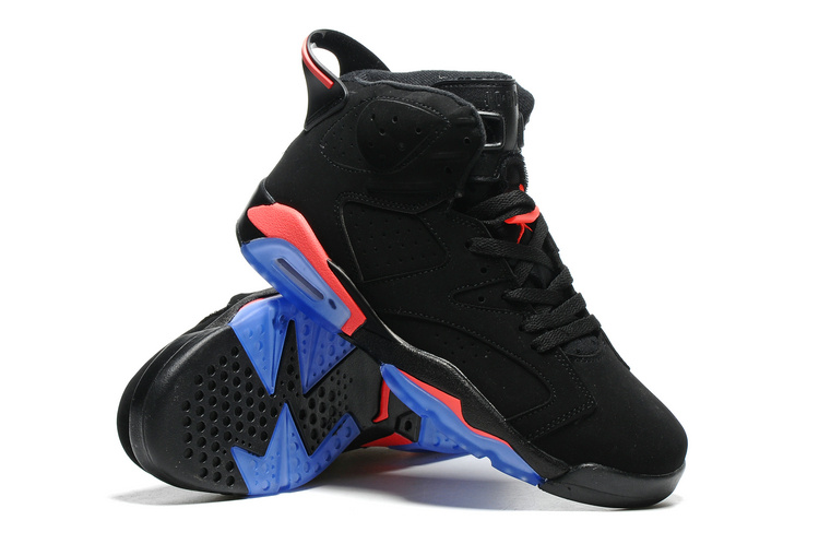 New Air Jordan 6 Black Red Blue Sole Shoes