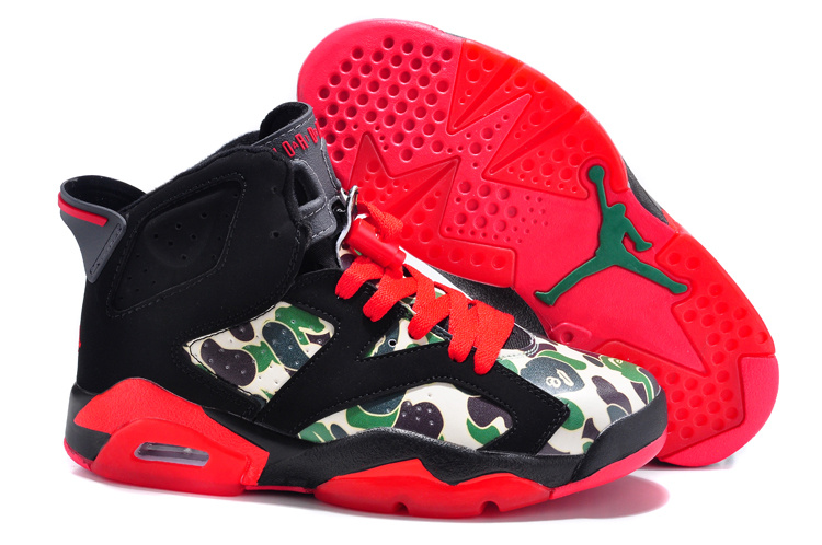 New Air Jordan 6 Black Red Monkey Head Print Shoes For Women