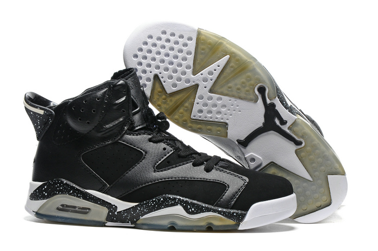New Air Jordan 6 Black White Transparent Sole Shoes